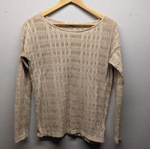Forever 21 Crew Neck Knit Crochet Beige Trendy